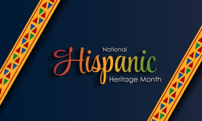 Sticker Hispanic National Heritage Month in September and October. Hispanic and Latino culture. Latin American patterns.