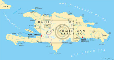 Hispaniola political map with haiti and dominican republic notebook on