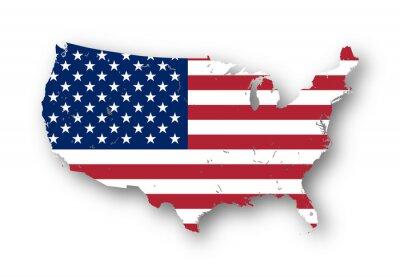 Sticker Hochauflösende Karte der USA mit der amerikanischen Flagge. Sie können ganz einfach entfernen Sie die Schatten oder in der Karte in einer anderen Farbe zu füllen - Beschneidungspfad enthalten.