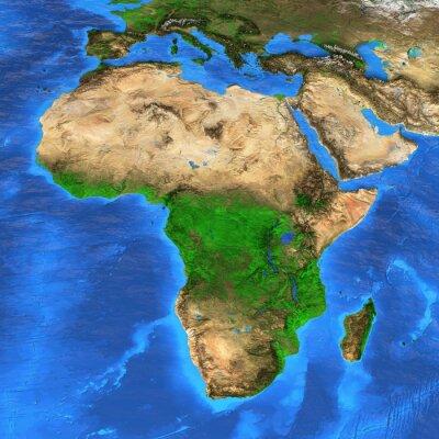 Sticker Hochauflösende Weltkarte mit Schwerpunkt auf Afrika