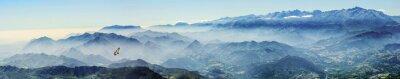 Sticker Hochgebirge mit Gänsegeier im Nebel (Picos de Europa, Asturien, Spanien)