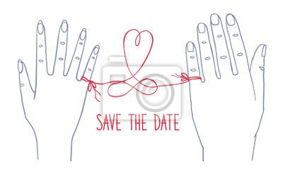 """Hochzeitseinladungskarte. Männliche und weibliche Hände durch rote Schnur und Text """"Save the Date"""""""