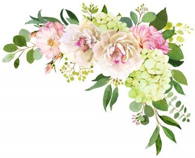 Sticker Hochzeitsstrauß. Pfingstrosen-, Hortensie- und Rosenblumen-Aquarellillustrationen