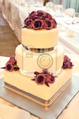 Hochzeitstorte Mit Blumen Und Band Dekoration Notebook Sticker