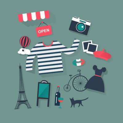 Sticker holidays and vacation flat vector french icons fashion and bist