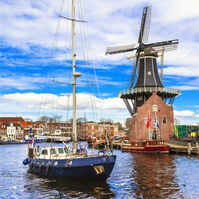 Sticker Holland, Haarlem' canals. windmill and sail boat