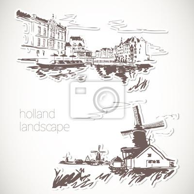 Holland Hand gezeichnete Landschaft im Vintage-Stil