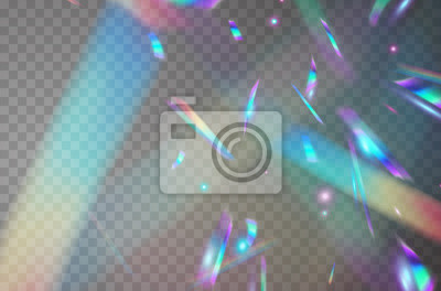 Sticker Holographic falling confetti isolated on transparent background. Rainbow iridescent overlay texture. Vector festive foil hologram tinsel with bokeh light effect and glare glitter.