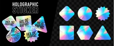 Sticker Holographic stickers. Hologram labels of different shapes. Colored blank rainbow shiny emblems, label. Paper Stickers. Vector illustration
