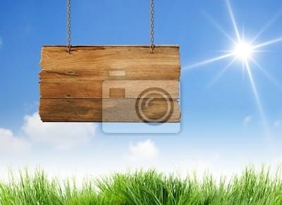 Holz Schild hängen