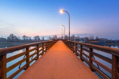 Sticker Holzbrücke über Nogat Fluss auf dem Schloss in Malbork, Polen