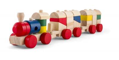 Sticker Hölzerne Spielzeugserie mit bunten Blöcke isoliert über weiß