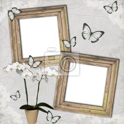 Holzrahmen mit Schmetterlingen und Orchideen auf Grange Hintergrund