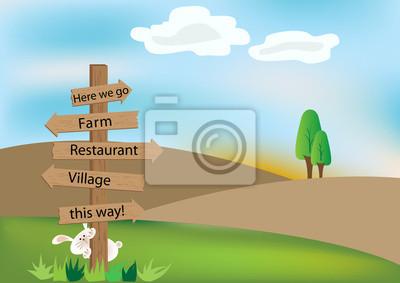 Holzschild auf dem Hügel.