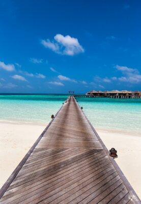 Sticker Holzsteg auf der Lagune auf den Malediven