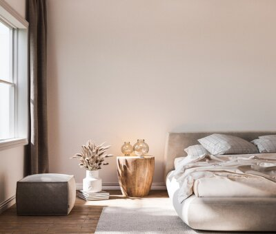 Sticker Home interior background, cozy white bedroom with bright furniture natural wooden tables, modern style, 3d render