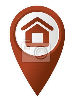 Home-Symbol auf dem roten Zeiger Karte. Vektor-Illustration