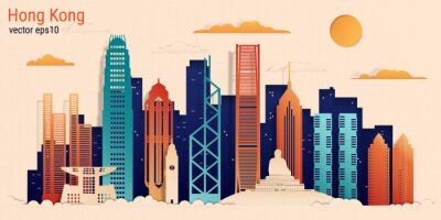 Hong Kong city colorful paper cut style, vector stock illustration. Cityscape with all famous buildings. Skyline Hong Kong city composition for design.