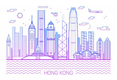 Hong Kong city pink line art vector. Illustration with all famous buildings. Cityscape. White background and pink line.