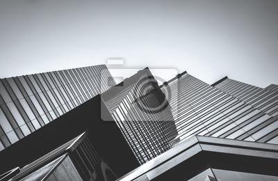 Sticker Hong Kong Commercial Building Close Up; Black and White style