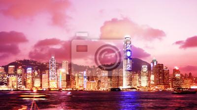 Hong Kong Skyline bei Sonnenuntergang