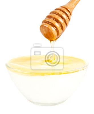 Honig in einem Glas mit Joghurt