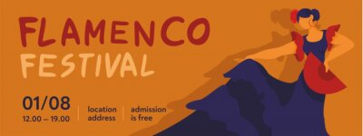 Horizontal banner template, invitations for the flamenco festival. A dancer in a blue dress with a red fan. Concept of traditional culture of Spain for tourist guides, promo. flat vector illustration.