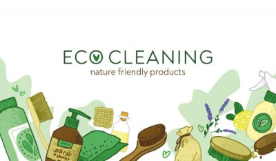 Horizontal banner with decorative eco and non-toxic cleaning elements. Template for a home cleaning service with nature-friendly tools. The concept of green house. Cartoon flat vector illustration.