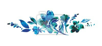 Horizontal watercolor banner with flowers, leaves and drops drawn by hand on a white background. Blue bouquet for a birthday card for mom or baby boy. Cute illustration