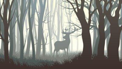 Sticker Horizontale Darstellung der wilden Elch in Holz.