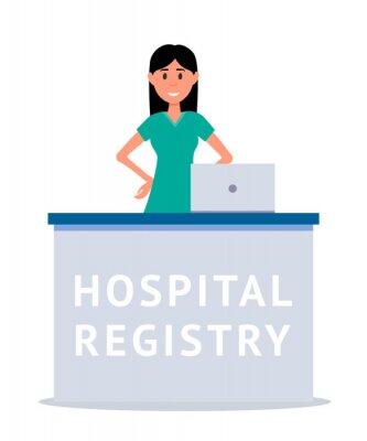 Hospital reception cartoon vector illustration