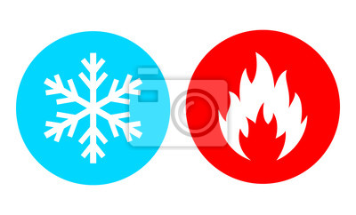 Sticker Hot and cold vector icon