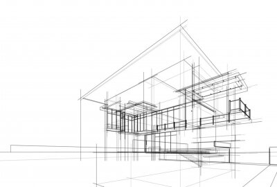 Sticker house building sketch architecture 3d illustration