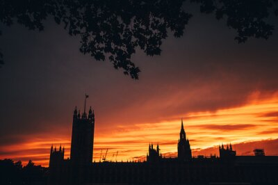 House of parliament in London, sunset sky, silhouette. Symbol of UK, Great Britain,