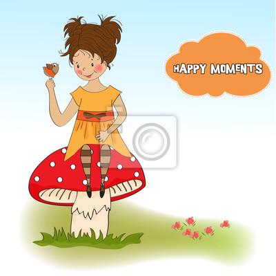 hübsche junge Mädchen auf einem Pilz sitzt
