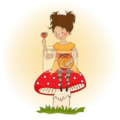 hübsches junges Mädchen sitzt auf einem Pilz