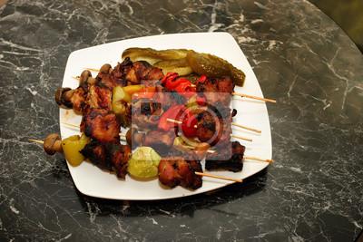 Huhn Schaschlik mit Champignons und Paprika
