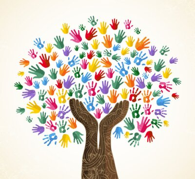 Sticker Human hand tree for culture diversity concept
