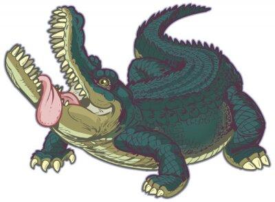 Sticker Hungry Cartoon Alligator mit hängender Zunge