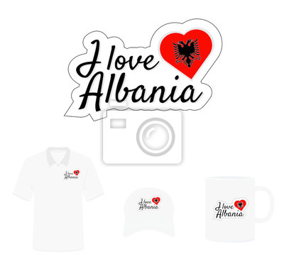 I love Albania Logo, Heart Flag, T-shirt design, Hat design, Cup design. Vector with die cut layers. Isolated Logo on white background