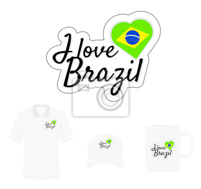 I love Brazil Logo, Heart Flag, T-shirt Design, Hat Design, Cup Design. Vector with die cut layers. Isolated Logo on white background
