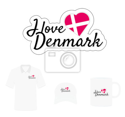 I love Denmark Logo, Heart Flag, T-shirt Design, Hat Design, Cup Design. Vector with die cut layers. Isolated  Logo on white background
