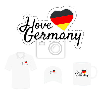 I love Germany Logo, Heart Flag, T-shirt design, Hat design, Cup design. Vector with die cut layers. Isolated Logo on white background.