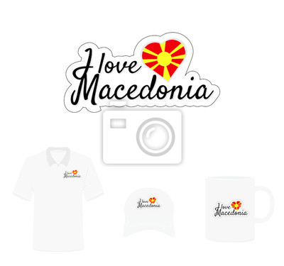 I love Macedonia Logo, Heart Flag, Sun on Red Background, T-shirt Design, Hat Design, Cup Design. Vector with die cut layers. Isolated Logo on white background.
