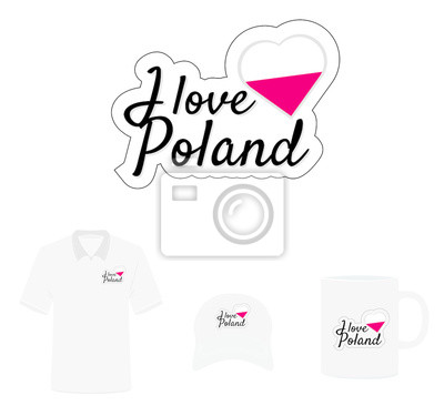 I Love Poland Logo, Flag Heart, T shirt Design, Hat Design, Cup Design. Vector with die cut layers. Isolated Logo on white background