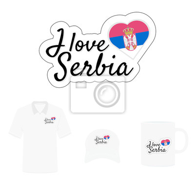 I love Serbia Logo, Heart Flag, T-shirt Design, Hat Design, Cup Design. Vector with die cut layers. Isolated Logo on white background
