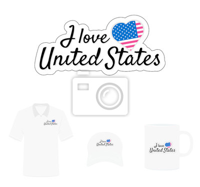 I love United States of America  Logo, Heart Flag, T-shirt Design, Hat Design, Cup Design. Vector with die cut layers. Isolated Logo on white background