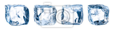 Sticker Ice cube. Ice block. Isolated ice cubes set. Clipping path