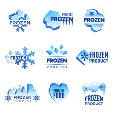 Sticker Ice logo. Frozen product abstract badges cold and ice vector symbols. Ice cold crystal badge for product frozen illustration