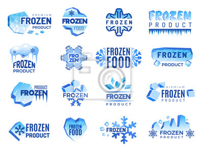Sticker Ice product logo. Frozen food business identity blue vector cold graphic elements. Snowflake product, frozen temperature badge for refrigerator illustration